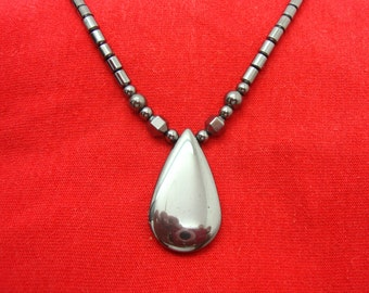 Hematite 35 x 20 mm Teardrop Pendant & Necklace-Hand Beaded-INTENSE METALLIC SHEEN-18.75 Inches In Length-Contains Magnetic Clasp Mechanism
