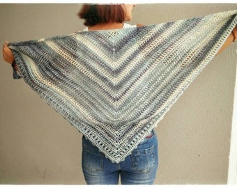 Beautiful shawl, hand crochetted in blue and white shades.