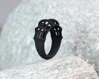 Bamboo Ring, Black Statement Ring, Gift for Women, Contemporary Ring, Structural Ring Black, Geometric Ring, Modern Black Ring, Goth Ring