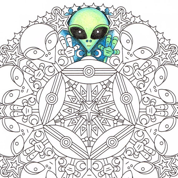 Mandala Coloring Page Little Green Friends printable