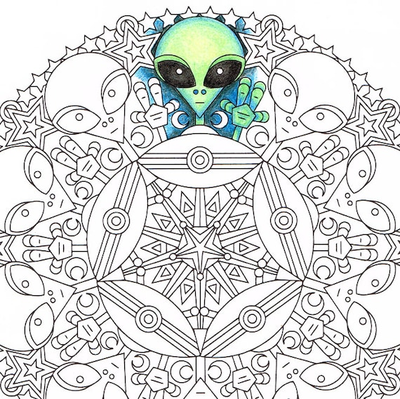 mandala coloring page little green friends printable coloring page adult coloring pages ufo alien scifi - Alien Coloring Page