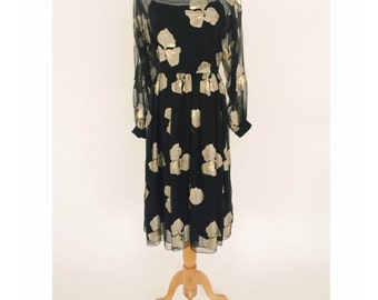 Pauline Trigere Sheer Silk Floral Dress