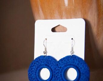 Crochet Circle Earrings, homemade jewelry, artisan jewelry, The Hannah Design in blue, crochet earrings, handmade earrings, fashion earrings