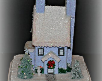Glitter House, Handmade Glittered House, Christmas Village House, Putz Style House, Christmas Village Paper House, Christmas Decoration