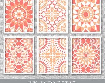 Coral Art, Coral Wall Art, Printable Art, Set of 6 Prints, Printable Wall Art, Printable Artwork, Printable Wall Decor, Damask Wall Art