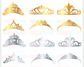 Tiara-golden& silver-EPS,PNG