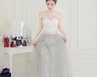 Selena - Strapless Ivory Lace Silver Grey Tulle Tea Length Short Wedding Dress