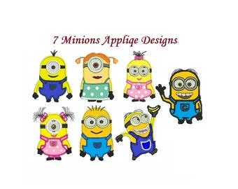 Minions Applique design - 7 designs Instant Download - Applique Embroidery design