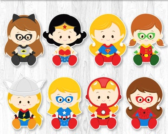 Superhero Baby Girl Centerpiece, Superhero baby girl Cake Topper