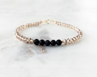 Champagne Faceted & Lava Bead Essential Oil Diffuser Bracelet - 14k Gold-filled Minimal Essential Oil Bracelet Diffuser Aromatherapy