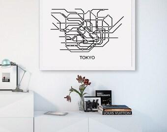 TOKYO Subway Map,Print Tokyo,Metro Map Poster,To MAP,Printable,Metro Map,SUBWAY Tokyo,Subway Map,Black & White Lines,Vintage Map Retro