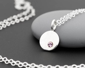 June Birthstone Necklace, Alexandrite Crystal, June Birthday, June Birthstone Jewelry, Tiny Birthstone Necklace, Sterling Silver