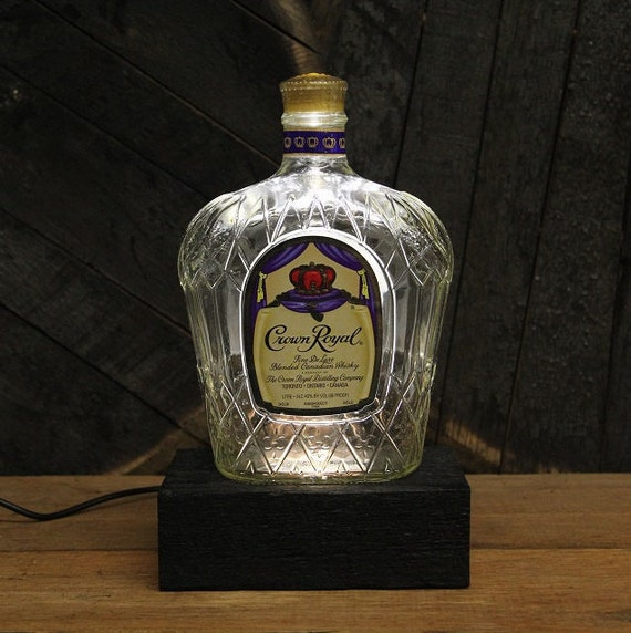 Crown Royal Whiskey Bottle Lamp Reclaimed Wood Base Led Table