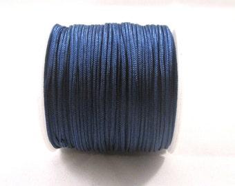 RELO SALE - Cord, imitation silk, medium blue, 1mm. Sold per 100-foot spool.