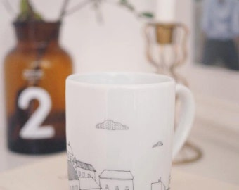 Coffee mug or tea with home and cloud - hand painted landscape