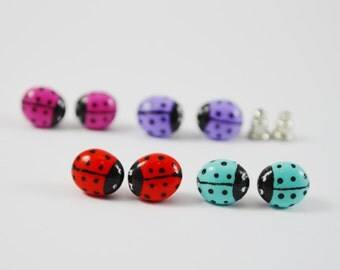FREE SHIPPING, Lady bug earrings, Lady bug stud earrings, Lady bug jewelry, Mint lady bug, Purple lady bug, Magenta lady bug