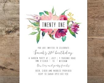 21st birthday invitation, printable twenty first invitation, floral, boho, modern, hipster, minimal