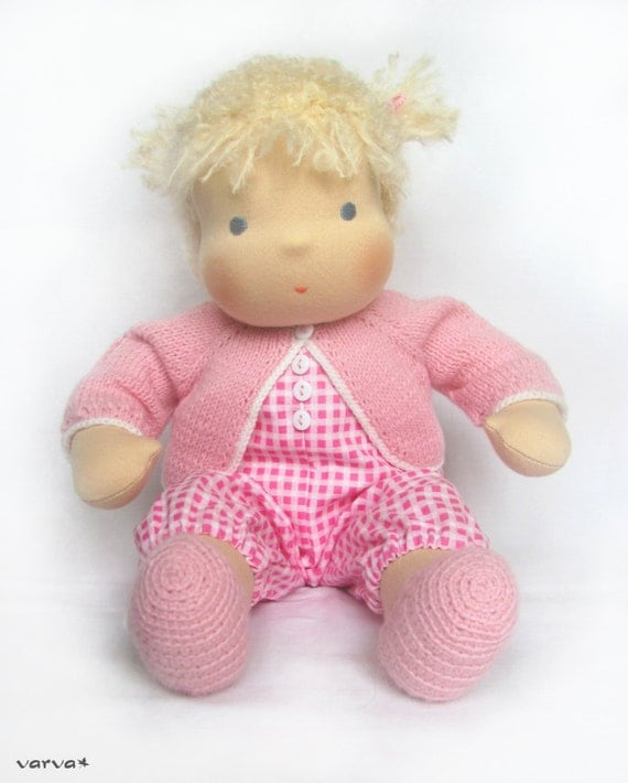"MADE TO ORDER 14""(36 cm) Waldorf Doll Baby Girl. Steiner doll-cloth doll-handmade doll-soft doll-waldorf toy-natural doll-organic doll"
