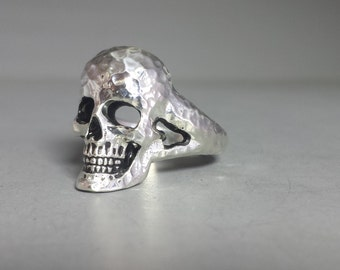 Sterling Silver Full Face Skull Ring With Hammered Finish