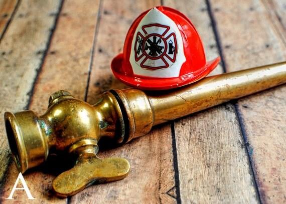 Brass hose nozzle firefighter decor still life by