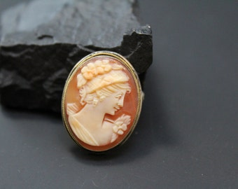 Vintage 800 Silver Carved Shell Cameo Brooch Pin with Optional Pendant