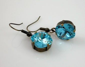 Antique Brass Light Turquoise Aqua Blue Swarovski Cushion Cut Crystal Dangle Earrings