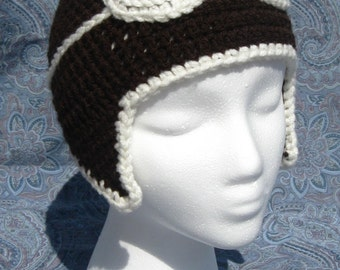 Crochet Aviator Hat with Goggles