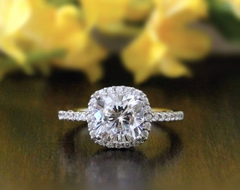 2.75 ct.tw Art Deco Ring-Halo Engagement Ring-Cushion Cut Diamond Simulants-Promise Ring-Anniversary Ring-Solid Sterling Silver [3651]