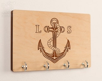 Personalized Key Holder Key Rack Wall Key Holder Key Hook Key Hanger Nautical Anchor Wedding Gift Anniversary gift Housewarming gift keyrack