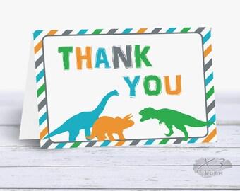 Dinosaur Birthday Thank You Card, Kids Thank You Cards, Dinosaur Party, Printable Thank You Cards Boy, Instant Download