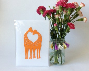 Giraffe Love Heart Papercut Card