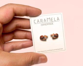 Red panda Stud Earrings Cute stud Red panda earrings Animals stud earrings