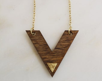 """Wood """"V"""" Necklace with Raw Brass Triangle"""