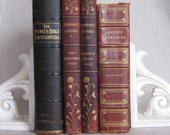 Four Antique Books with Leather Spines and Corners, Worn Hardcover Books, Shabby Rustic Set