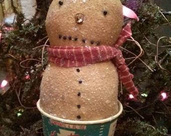 Primitive Vintage Ice cream cup Ornie Snowman Winter Christmas Faap Hafair Haha