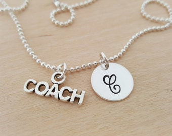 Coach Charm Necklace - Personalized Necklace - Custom Initial Necklace - Initial Jewelry - Monogram Necklace - Gift for Coach