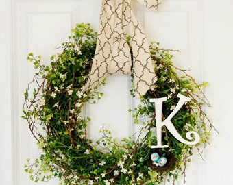 Personalized Spring Wreath | Front Door Wreath | Greenery Wreath | Birds Nest Wreath | Housewarming Gift