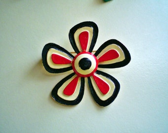 Patriotic Vintage Ladies 1950's Enamel Flower Brooch July 4th Red White Blue