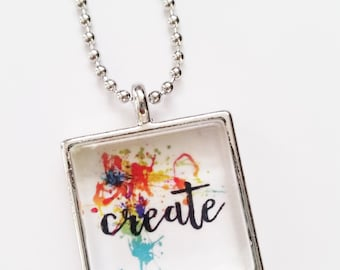 READY TO SHIP Create square glass motivational art pendant necklace