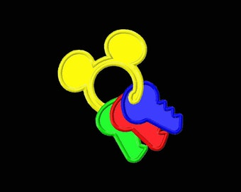 Mouse Shape Baby Toy Keys Machine Applique Embroidery Design Fits Hoops 4x4 5x7 6x10 8x12 Instant Download