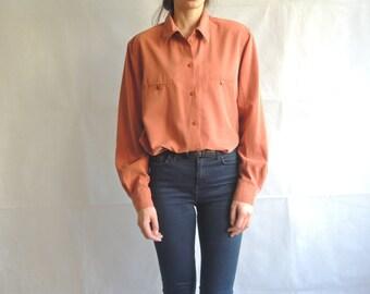 90s Vintage Orange Long Sleeve Blouse