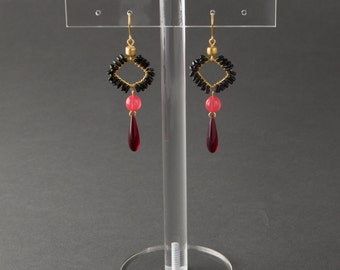 """Earrings with black, pink, golden and red beads.Dangling earrings with square ,drop and round beads.""""Rose"""""""
