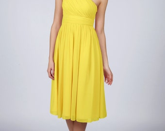 Matchimony Sun Yellow One Shoulder Short Bridesmaid/Prom Dress