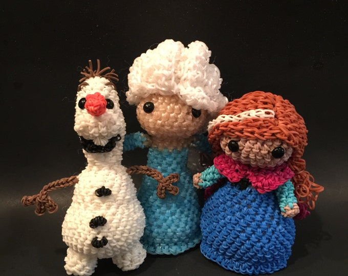 Disney's Frozen Elsa, Anna & Olaf Combo Play Pack Rubber Band Figures, Rainbow Loom Loomigurumi, Rainbow Loom Disney