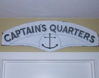 Marine Decor, Rustic Sign, Captain's Quarters
