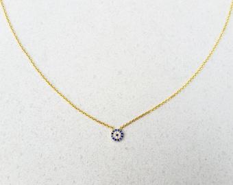 Gold 14K Evil Eye Necklace, Blue CZ Evil Eye, Dainty Necklace, Vermeil Gold Choker, Tiny Evil Eye, Protection Necklace, Sterling Silver 925