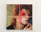 Vintage DAVID BOWIE Ziggy Stardust Makeup Photograph from 1973 on a Set of 4 Ceramic Hot and Cold Drink Beverage Coasters with Felt Backing