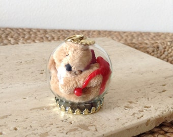 Cute Little Bloody Beige Teddy has been preserved in a glass ornament. Creepy. Cute. Unique. Handmade.