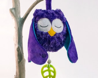 Musical soft toy owl for baby and toddler - unique baby shower gifts - Purple plushie owl - cute baby gifts - baby music box - owl baby gift