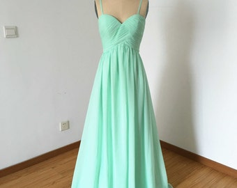 Spaghetti Straps Sweetheart Mint Chiffon Long Bridesmaid Dress
